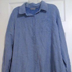 Croft & Barrow Blue Ivy Embroidered L/S Top XL